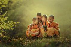 Novice Buddhist Monks by Jakkree Thampitak
