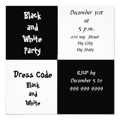 Black and White Party Custom Invitations
