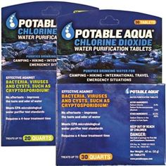 Water purification tablets $15