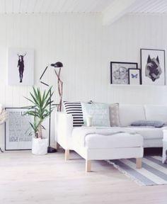 Ajoutez un peu de couleur dans un salon scandinave avec une plante verte