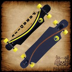 """PARADISE LONGBOARDS """"Arc Stripe"""" PALB-51 Drop-Through.  Measures 9.5"""" x 39"""" with advanced bamboo/fiberglass composite construction that gives a great flex. The  construction creates a strong, snappy, and overall great board feel that has  incredible traction, speed,and slide ability. The Bigfoot Stalker wheels measure 70mm with a 78a hardness and 51mm wide footprint. Complete with high-grade, 181mm downhill aluminum alloy trucks, Abec-7 Speed Bearings, Hardware, & Risers."""