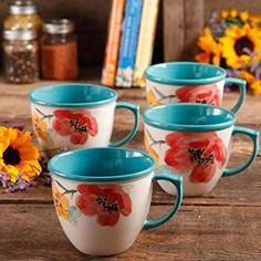 The Pioneer Women Flea Market 16 Oz Decorated Coffee Cup Fl Turquoise Set Of