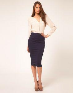 Asos Asos Collection Azul atractivo plisado lateral Ponti Pencil Skirt