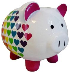 "Amazon.com: Completely Custom {6"" x 6.5"" Inch} 1 Single Medium, Coin & Cash Bank Decoration for Holding Money, Made of Grade A Genuine Ceramic w/ Hole, Rainbow Heart Piggy Style {Black, White, Pink, & Blue}: Home & Kitchen"