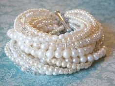 chunky pearl bridal statement bracelet - bridal accessories, bridal jewelry