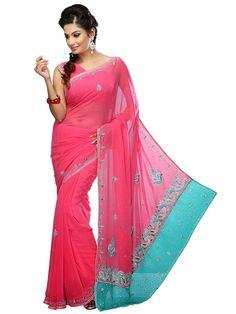 Prodigious teal color Georgette saree. Item Code: SVM7057