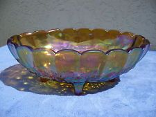 Indiana Carnival Glass Iridescent Amber Marigold Footed Oval Grape Fruit Bowl 12 value $35