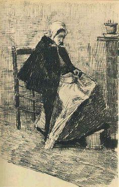 Scheveningen Woman Sewing 1881 Vincent van Gogh