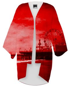 Dramatic red Santa Monica Pier Kimono from Print All Over Me