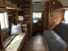 This 1979 Silver Streak trailer has been completely transformed with reclaimed wood.