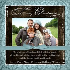family christmas picture ideas | Sweet Christmas Photo Card - Blue Damask Bow Family Personalized 2013
