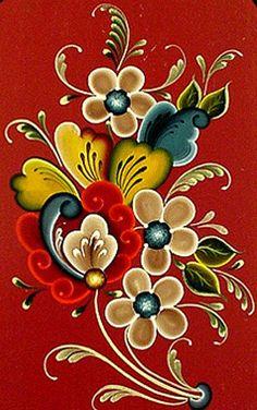 Folk Art Flowers, Flower Art, Tole Painting, Fabric Painting, Rosemaling Pattern, Norwegian Rosemaling, Boat Art, Scandinavian Folk Art, Arte Floral