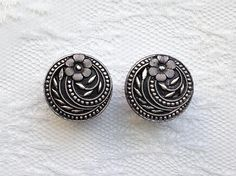 """Flower Silver and Black Ornate Button Vintage Style Pair Wedding Plugs Gauges Size: 5/8"""" (16mm), 3/4"""" (20mm) by PorcupineSpines"""