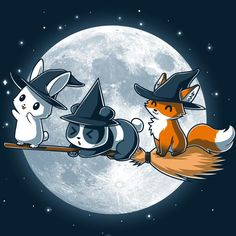 Cuddly Coven T-Shirt TeeTurtle - Halloween İdeas Kawaii Halloween, Cute Halloween Drawings, Halloween Art, Cute Animal Drawings, Kawaii Drawings, Cute Drawings, Halloween Mignon, Fox Art, Kawaii Art