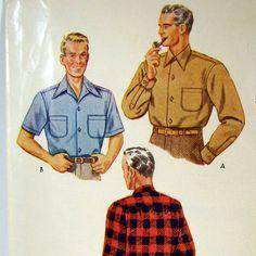 Men's Shirt 1940s Vintage Pattern Size 15 by MagnoliaSewingBasket. $8.00, via Etsy.