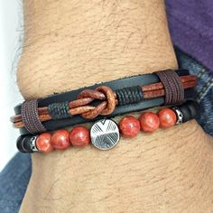 Kit Pulseiras Masculinas Couro Pedra Onix Coral Bracelete mens bracelets style fashion cocar brasil
