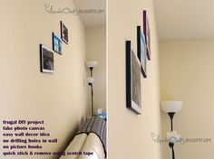 Inexpensive wall decorating idea for apartment | Faux photo canvas using Thermocol sheetinexpensive-wall-decorating-idea-photo-canvas