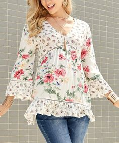Another great find on #zulily! White Floral V-Neck Tunic - Women & Plus #zulilyfinds