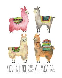 Adventure Time 506725395574010946 - Llama Alpaca Print Adventure Watercolor Boy Girl Travel Tribal Woodland Baby Nursery Gift Peru Wall Decor Room Unique Whimsical Colorful Source by sheedyjennifer Alpacas, Alpaca Illustration, Bag Illustration, Wall Art Decor, Nursery Decor, Decor Room, Baby Decor, Art Adventure Time, Woodland Baby Nursery