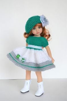 Knitting Dolls Clothes, Crochet Doll Clothes, Knitted Dolls, Doll Clothes Patterns, Girl Doll Clothes, Barbie Clothes, Baby Knitting, Crochet Baby, American Girl Doll Pictures