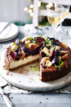 Cheesecake, but not as you know it. This savoury twist has a gluten-free breadcrumb base, fragrant cream cheese filling and is topped with a vibrant medley of beets and shallots for a gorgeous free-from main. Savory Cheesecake, Gluten Free Cheesecake, Cheesecake Recipes, Classic Cheesecake, Savoury Baking, Savoury Cake, Cheesecakes, Tesco Real Food, Savory Tart