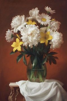 White Peonies And Wild Lily Painting by Dmitry Sevryukov