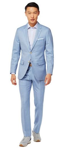 Go boldly where no solid has gone before. The Powder Blue Birdseye Suit has a clean finish and retro cool that's oceans away from ordinary.