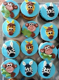 Jungle cupcake toppers, I'd want to make elephants too! Jungle Cupcakes, Jungle Cake, Animal Cupcakes, Baby Shower Cupcakes, Fun Cupcakes, Jungle Party, Safari Party, Jungle Theme, Fondant Cupcake Toppers