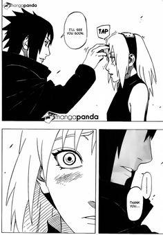 Naruto Manga 699 - Sasuke x Sakura.this proves how much he loves her.the same thing Itachi did with him.*the feels* <<<< YES. This is Sasuke's most intimate and loving gesture and he did this with Sakura. Its so beautiful ; Naruto Uzumaki, Anime Naruto, Sasuke Sakura, Sasuke Uchiha, Sarada Uchiha Tumblr, Manga Anime, Naruto Gaiden, Gaara, Naruhina