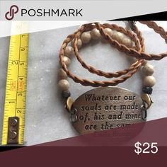 """Lenny and Eva bracelet set. Lenny and Eva cream beads, tan braided leather, silver quote plate """"Whatever our souls are made of, his and mine are the same."""" Excellent condition. Jewelry Bracelets"""