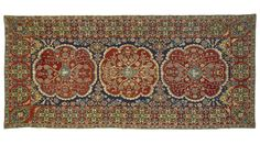 Embroidered cover or hanging, Portugal, Arraiolos, 17th century. Linen, wool, 151.5 x 70 in. The Textile Museum R44.6.1. Acquired by George Hewitt Myers in 1945.