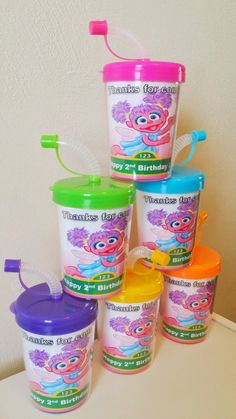 Abby Cadabby Sesame Street Party Favor Cups, DIY Abby Cadabby Birthday Party Treat Cups Set of 6 Do It Yourself