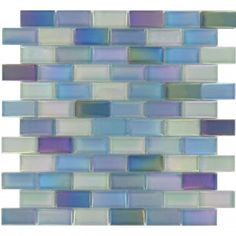 Tesoro 1'' x 2'' Aqua Glass Uniform Brick Tile Glossy Iridescent KEEKELU12AQBLMA