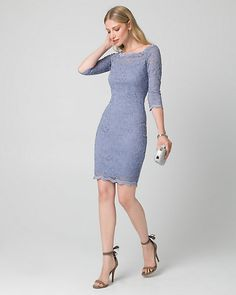 Lace Off-the-Shoulder Dress - Elevate your evening style with this timeless lace cocktail dress styled with 3/4 sleeves.