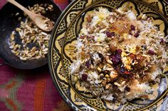 This dish is called jeweled rice because it is golden and glistening, laced with butter and spices and piled with nuts and gem-colored fruits In Iran, it is typically served at weddings or other celebrations Great platters of it appear at banquets