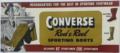 Converse Rod & Reel Sporting Boots Original Vintage Advertising Store Poster #Converse