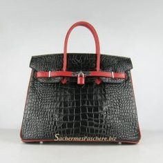 Sacs Hermès Pas Cher Birkin 35cm Crocodile Veins Cuir Sac Noir Rouge 6089 Hermes  Birkin f1dedffc410