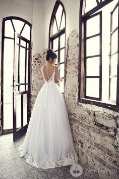 ballgown, bow in back, embelished hem, sweetheart neckline, spaghetti straps.  Beautiful deep V back.