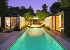 surrounded backyard pool Pasadena mid century home