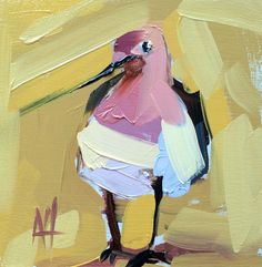 American Avocet Original Bird Oil Painting by Angela Moulton 6 x 6 inch on Birch Plywood Panel pre-order by prattcreekart on Etsy