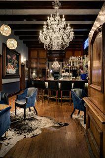 #bar inspiration, chandalier, nautical #navy, #rug. Adam Letch - photographer