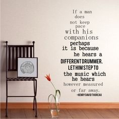 Wall Decal Quote Different Drummer by Henry David Thoreau - Vinyl Lettering Text Wall Words Stickers Art. $48.00, via Etsy.