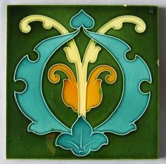 """Colorful and original English Art Nouveau tile c 1900. Measures 6"""" square. The lines of the design are raised and the colors rich. Some nicks around the edges. Unsigned. #artsandcrafts #artsandcraftspottery,"""