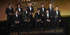 FIFA FIFPro World XI  Manuel Neuer; Thiago Silva, Marcelo, Sergio Ramos, Dani Alves; Andres Iniesta, Luka Modric, Paul Pogba; Neymar, Lionel Messi, Cristiano Ronaldo.  FIFA Ballon D'Or ceremony
