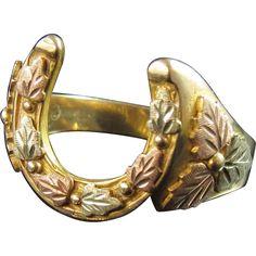 10K Rose Yellow Black Hills Gold Horseshoe Ring 10