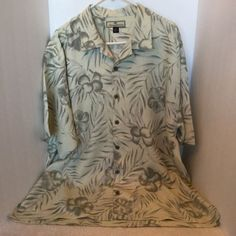 Tommy Bahama Hibiscus Palm Cream Gray Hawaiian Aloha Short Sleeve Shirt XL in Clothing, Shoes & Accessories, Men's Clothing, Casual Shirts | eBay