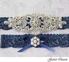 SALE Wedding garter set Something Blue stretch lace by GarterQueen