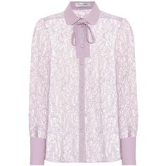 Valentino Collared Lace Blouse (€1.480) ❤ liked on Polyvore featuring tops, blouses, shirts, purple, pink lace blouse, lace collar top, purple top, purple blouse and pink lace top