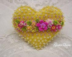 Cherry yellow felt  heart flower brooch / pin