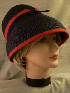 Vintage Lilly Dache 1940's 50s Navy Red Millinery Woven Hat Cap Gorgeous | eBay